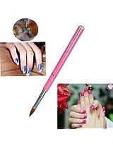Pink Crystal Carving Nail Art Pen Brush Powder Design Tool