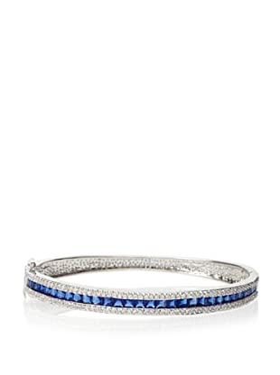 CZ by Kenneth Jay Lane Hinged Bangle, Silver\/Blue