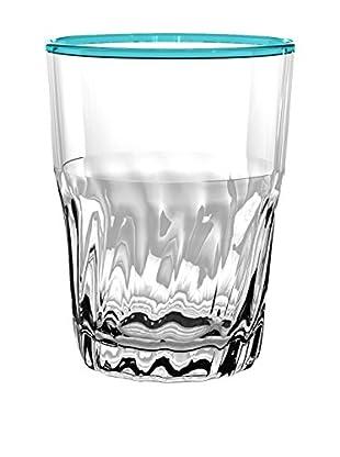 Cantina Acrylic Large Highball Glass, Clear/Teal