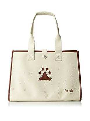 Pet Life Posh Paw Pet Carrier, White/Brown Paw Print