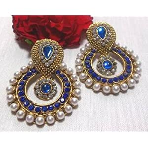 Earrings - Blue stone pearl polki earrings