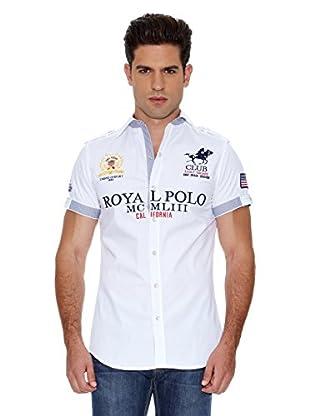 Eagle Square Camisa Azul Polo (Blanco)