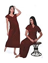 Indiatrendzs 2pc Set Honeymoon Nightwear Women's Sexy Hot Maroon Nighty