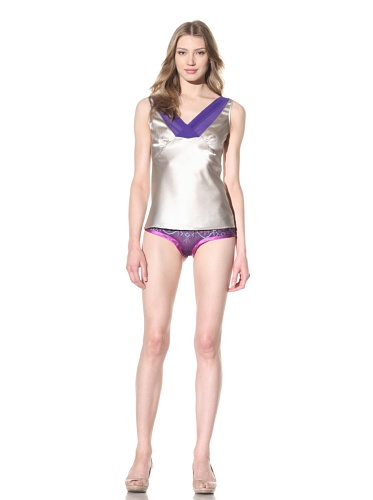 La Fée Verte Women's Silk V-Neck Top (Grey/Purple)