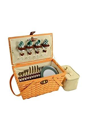Picnic At Ascot Settler Basket For 4, Honey/Green Plaid