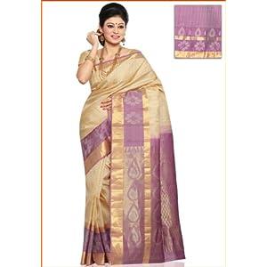 Dark Cream Pure Kanchipuram Handloom Silk Saree with Blouse