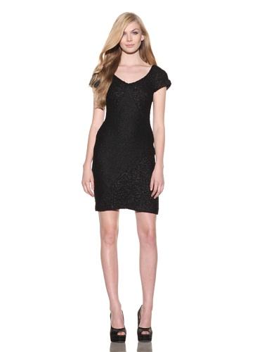 Christian Siriano Women's Boucle Paneled V-Neck Dress (Black)