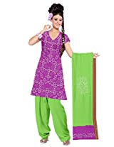 Kala Sanskruti Women's Cotton Silk Blend Magenta Dress Material