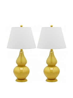 Safavieh Set of 2 Cybil Double Gourd Lamps, Yellow