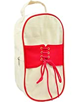 Fair Brigade White & Red Shoe Bag (Handmade From Canvas)
