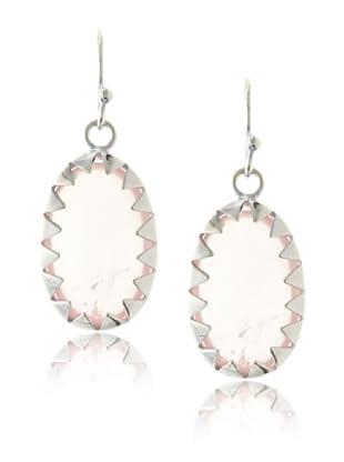 Plukka Women's Rose Quartz Sawtooth Earrings