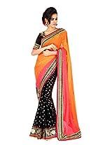 Traditional Orange Wedding Saree Booti Indian Bollywood Ethnic Sari