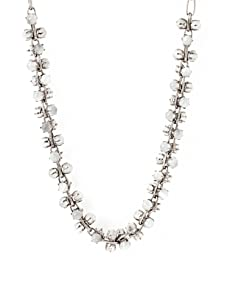 Tuleste Market Short Marbled Claw Necklace, Antique Silver/Light Grey