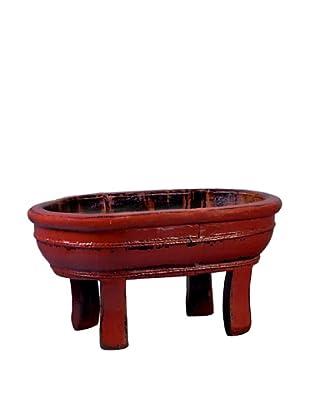 Antique Revival Wooden Vegetable Sink, Red
