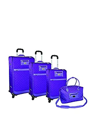 Adrienne Vittadini Quilted Nylon 4-Pc Luggage Set, Purple
