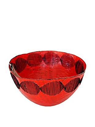 Asian Loft Swaziland Handcrafted Paper Mache Bowl with Stitch Pattern, Red