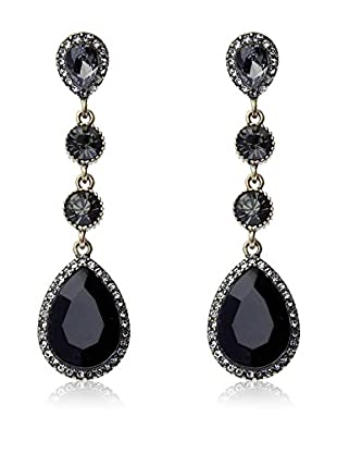 Majique Pendientes Black, Burnish Gold Tone