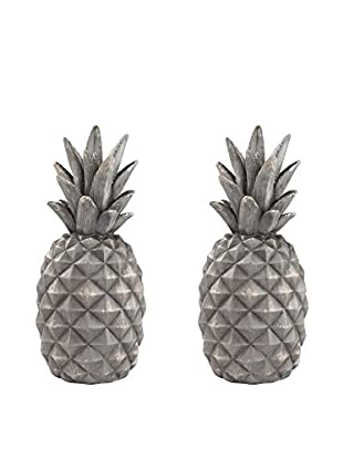 Artistic Set of 2 Aged Grey Pineapple Objets d'Art