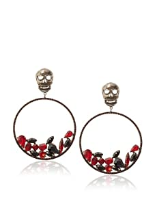 Joanna Laura Constantine Gunmetal/Red/Black Skull Circle Earrings