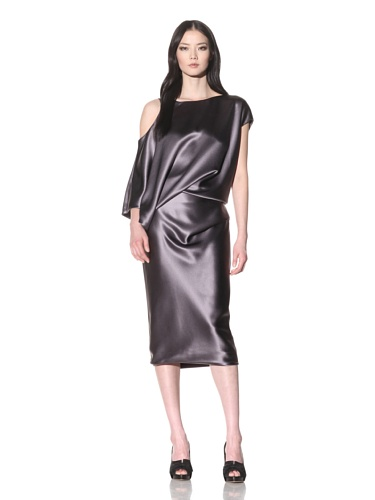Bibhu Mohapatra Women's Draped Sleeve Cocktail Dress with Fitted Skirt (Grey)