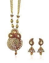 Royal Bling ethnic Golden joyful paisley kundan jewellery set for women