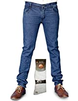 Coaster Combo Of Men Blue Jeans And Socks AG MD 6 Sks