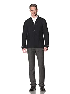 John Varvatos Collection Men's Button French Officer Jacket (Navy)