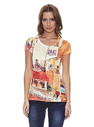 Peace & Love Camiseta Estampada (Naranja)