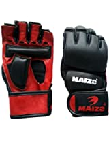 Maizo Leather MMA Grappling Unisex Martial Art Gloves (S, Black & Red)