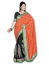 Myfzone Fashionable Printed Chiffon & Jacquard Fancy Lace Saree [MFZ559SF_Black and Orange]