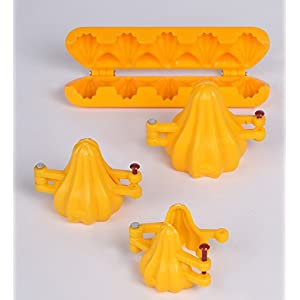 DS Ganpati Modak Plastic Mould 4 size Combo (Modak Sancha Patti 5 cavity + Modak Sanchan 1,2,3), Yellow