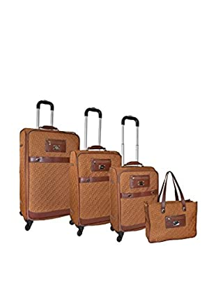 Adrienne Vittadini Quilted Nylon 4-Pc Luggage Set, Saddle