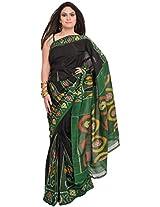 Exotic India Black and Green Handloom Saree from Pochampally with Ikat W - Black