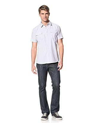 ONE90ONE Men's Deluxe Short Sleeve Stripe Shirt (Beige)