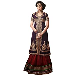 Long Gown Style Dark Purple Top and Maroon Bottom Georgette Top With Santoon Bottom & Chiffon Dupatta with Heavy Embroidery Work Anarkali Salwar Kameez Suit