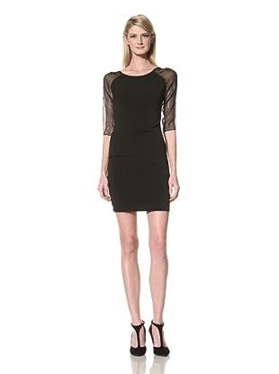 Marc New York Women's Scoop Neck Dress with Sheer Sleeves (Black)