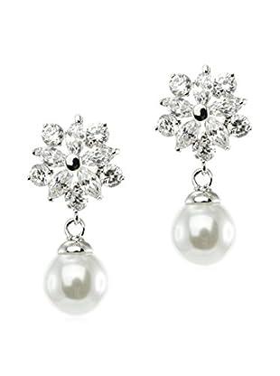 CZ by Kenneth Jay Lane Multi CZ Pearl Post Earrings