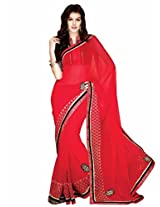Shoppingover festival partywear saree in Red color