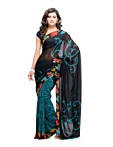Fabdeal Branded Indian Women Sari Printed Black & Sea Green-Ijcsr8002Oc