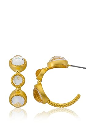 Riccova Satin Triple Faceted Glass Hoop Earrings