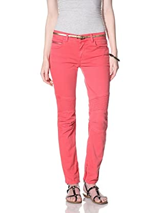 Rockstar Women's Biker Twill Jean (Vintage Red)