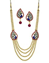 ANTIQUE GOLDEN PEACOCK DESIGN SIDE PIECE NECKLACE SET