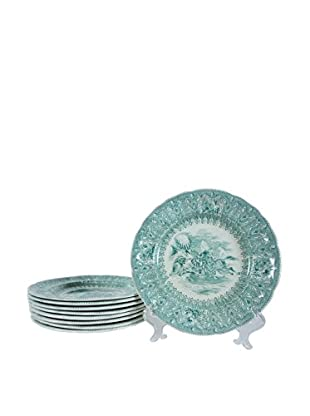 Set of 9 Transfer Ware Plates, Green/White