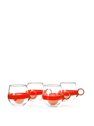 AdNArt Set of 4 Glass Teaball Mugs with Silicone Infusers, Red, 16.75-Oz.