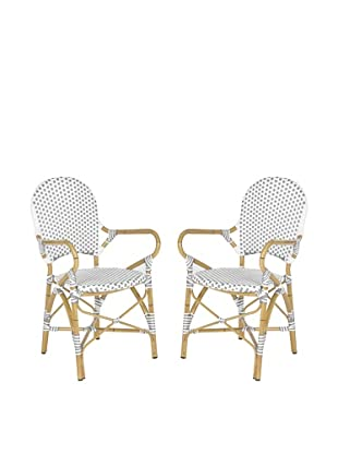 Safavieh Set of 2 Hooper Indoor/Outdoor Stacking Armchairs, Grey & White