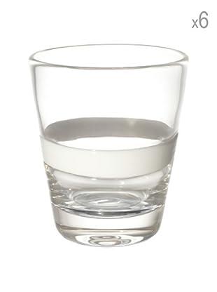 Cayos Company Set 6 Bicchieri Nastro Bianco 9 cm