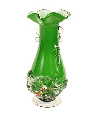 Vintage Art Glass Vase circa 1960's, Green/White/Clear