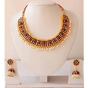 Beautiful unique gold tone pearl royal temple necklace with matching earrings