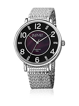 August Steiner Uhr mit schweizer Quarzuhrwerk  silberfarben 44 mm