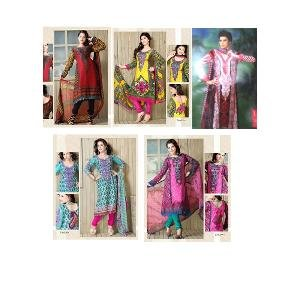 Collection of 5 Pakistani Inspired Embroidered & Printed Dress Material by Khazana